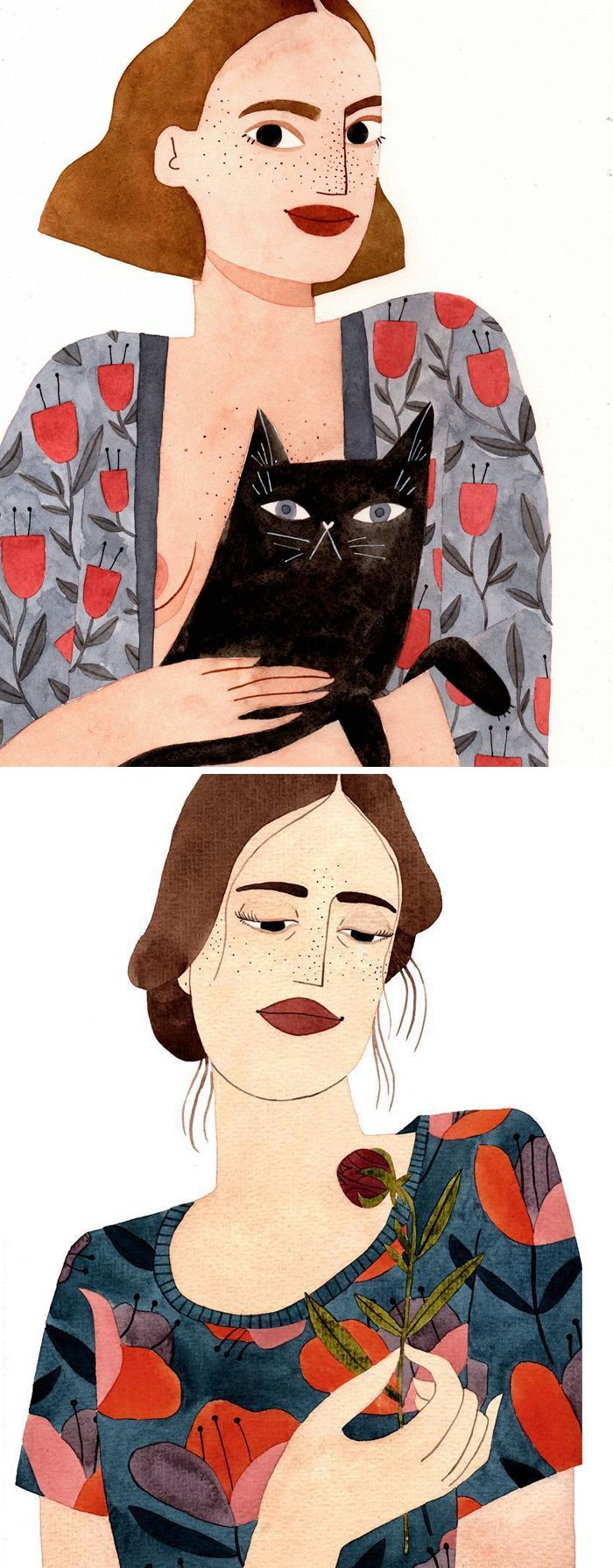 Portraits of women by Brunna Mancuso // illustrated ladies