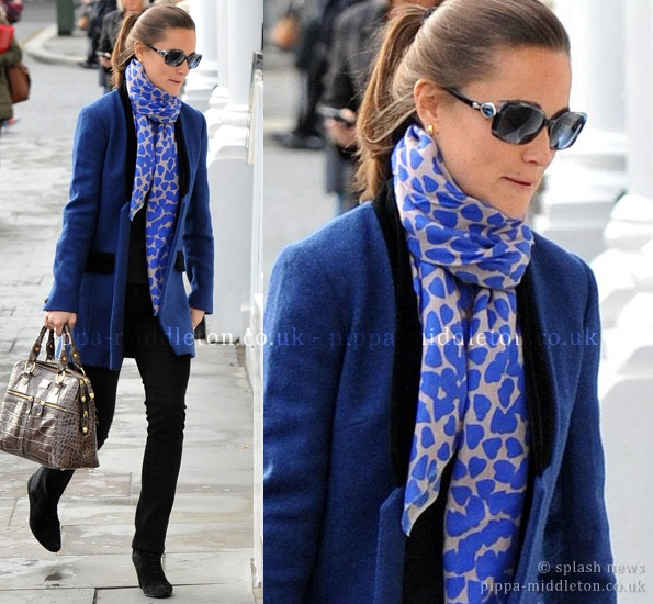 Pippa Middleton scarf + ponytail + blue/black combo