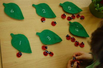 telwerkje lieveheersbeestjes met op de achterkant  van het blad evenveel groene kraaltjes (bladluizen)