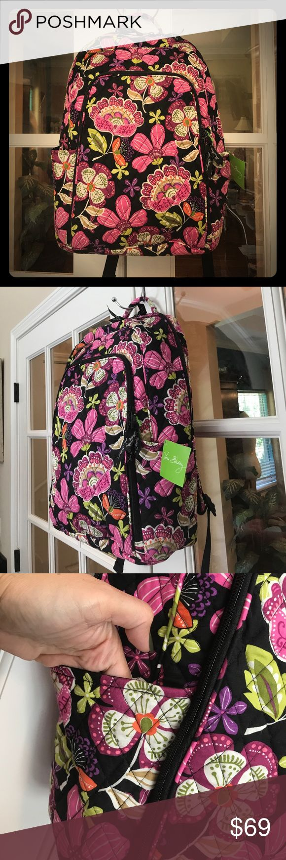 """🆕 Vera Bradley Laptop Backpack JUST IN‼️- This Vera Bradley Pirouette Pink Laptop Backpack is large with many pockets.   All compartments are lined with Vera Bradley fabric.  Main compartment has an extra separate padded pocket for your laptop.  The front zippered pocket has one zippered pocket and two slip pockets.  There is also a pocket on each side of the bag.  Very well made backpack!  Roughly 12.5""""L x 17""""H x 6""""W Vera Bradley Bags Backpacks"""