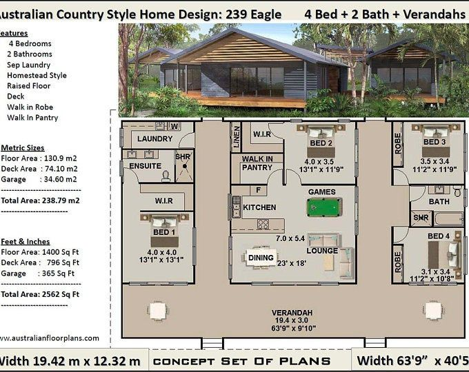 House Plan Country Style Acreage Home Design 239 Eagle 4 Bedrooms 2 Bath Rooms House Plans Sale 239m2 Or 2584 Sq Feet Pavilion Home Country House Plans House Plans For Sale House Design