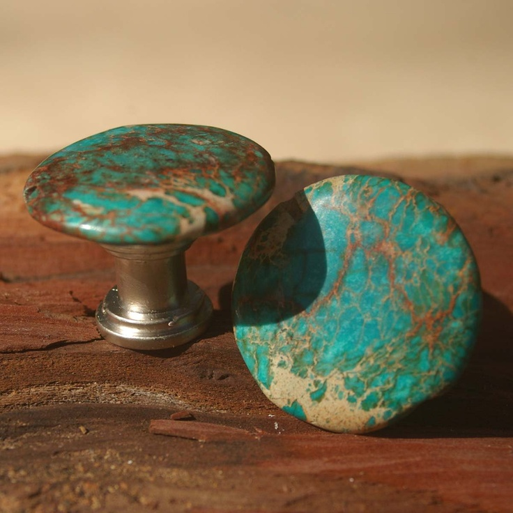 Cabinet Knobs or Drawer Pulls - Round Blue Sea Sediment - Set of 2, Stone Cabinet Knobs, Kitchen Knobs and Pulls. $10.00, via Etsy.