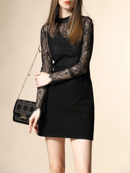 Lace Paneled Pockets Mini Dress