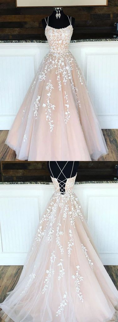 Champagne tulle lace long prom dress, champagne tulle evening dress Champagne tu…