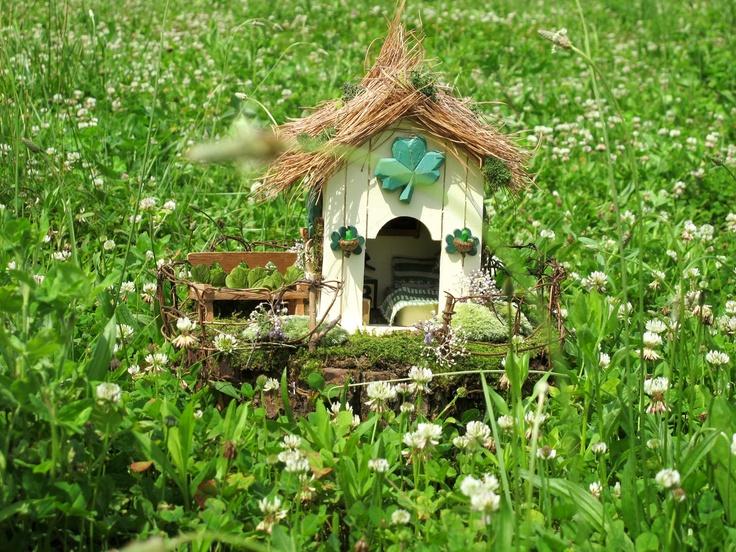 A place for the wee fairy folk to rest their head.  Glenclover a OOAK Irish Fairy House. $190.00, via Etsy.