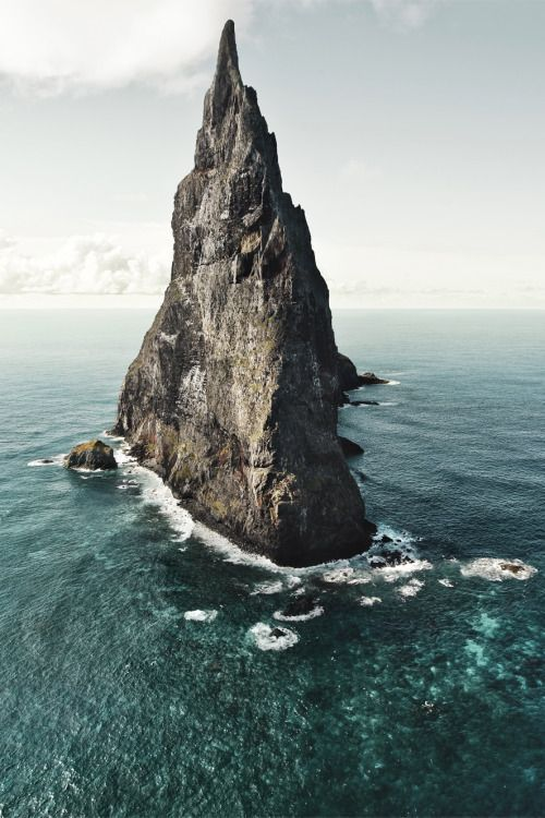 Ball's Pyramid, an erosional remnant of a shield volcano and caldera that formed about 7 million years ago. Ball's Pyramid is 20 km. southeast of Lord Howe Island at Australia in the Pacific Ocean. Photo by Hatty Gottschalk