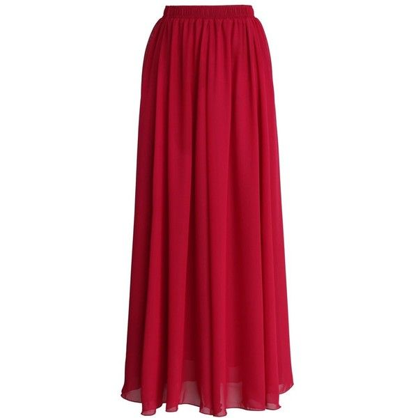 Chicwish Wine Red Pleated Maxi Skirt (105 BRL) ❤ liked on Polyvore featuring skirts, bottoms, maxi skirts, saias, long skirts, red, chiffon skirts, pleated chiffon maxi skirt, red maxi skirt and red pleated maxi skirt