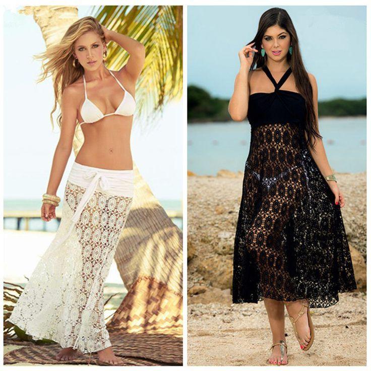 Playa Mujeres encubrir vestidos recorte ver a través de sexy traje de baño encubrimientos sarong bikini mujeres vestido de encaje ropa de playa Kaftan