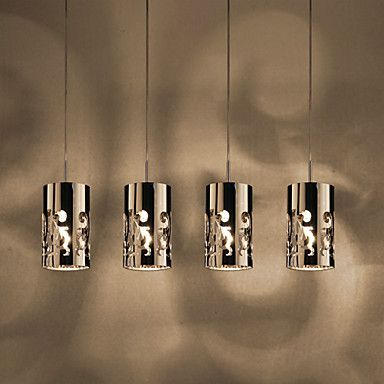 Pendant Light with 4 Lights in Steel – USD $ 149.99