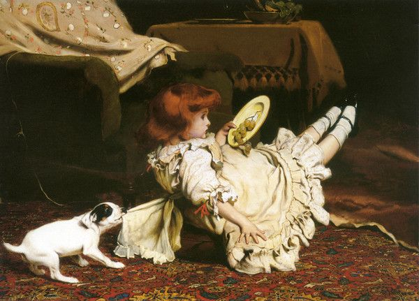 A Mischievous Puppy by Charles Burton Barber | Art Posters & Prints