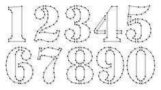 String-art pattern sheets NUMBERS STENCIL (number height 10cm) - www.spijkerpatroon.nl