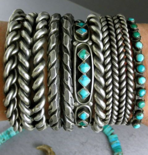 "Vintage Silver & Turquoise Old Pawn ""Zuni Diamond"" pattern Row Cuff Bracelet"