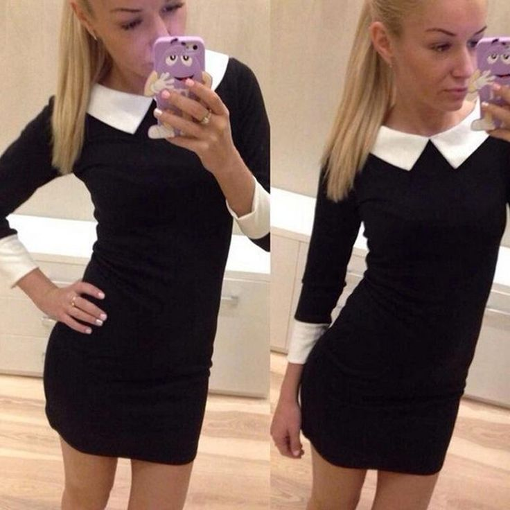 Fashion-Autumn-Slim-Doll-Collar-Mini-Pencil-Dress-Bottoming-Dress-UK