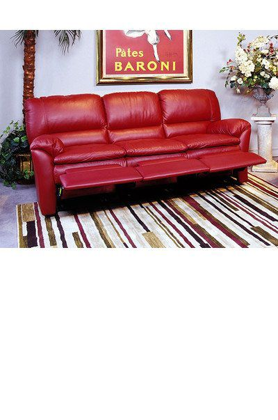 Red Leather Couch With Recliner
