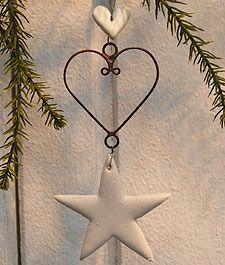 Image of HANDMADE Hanging Ceramic Heart or Star