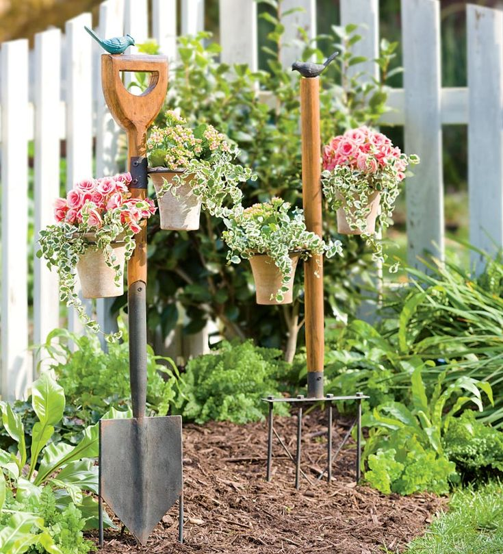 this site sells vintage looking garden tools but they have great ideas vintage garden tool stakes with pot holders