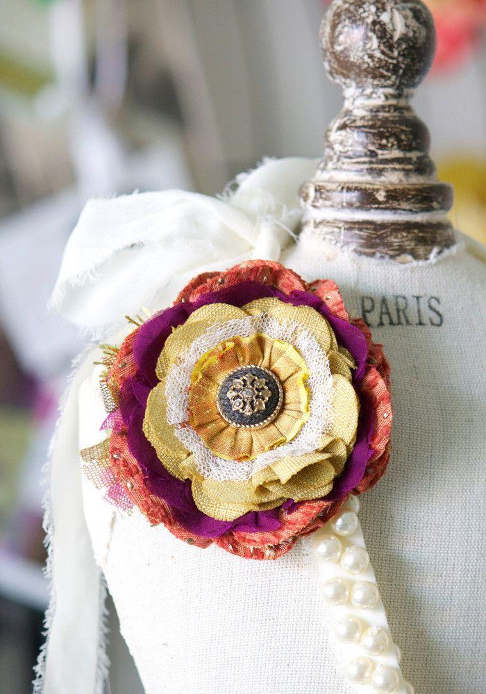 fabric flower brooch pin - orange, purple, yellow