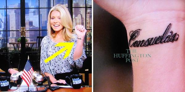 Kelly Ripa's tattoo of her husband's last name