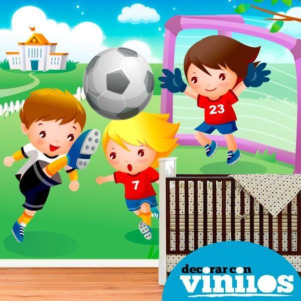 Fotomural Infantil - Niños jugando al futbol