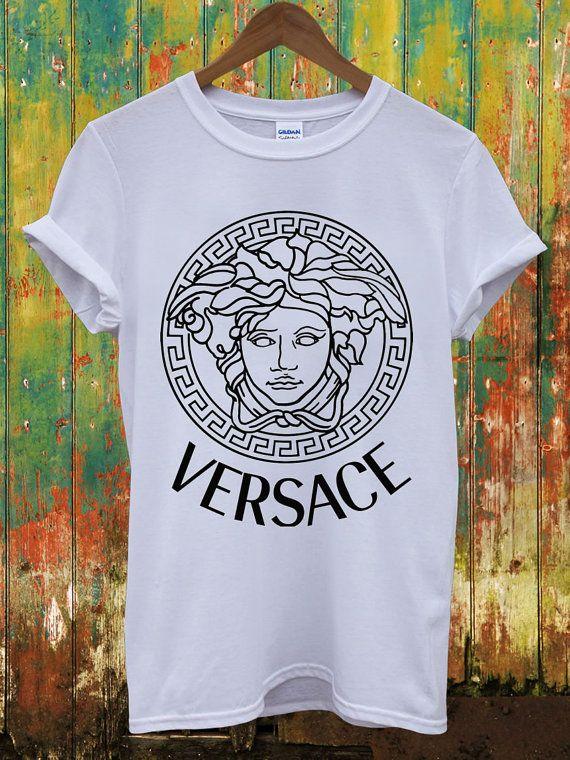 Versace Logo Retro Vintage Dope Indie Swag Geek Louis Vuitton Chanel Celine Paris Hippie Comme Des Fuckdown Men Women Unisex Top T-Shirt on Etsy, $13.06