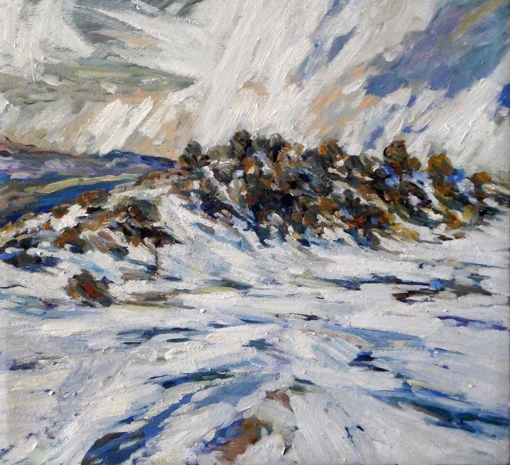 Deddingdorf snow in December I by Robert Habel. 2013. Oil on canvas. 51 x 57cm. $800.