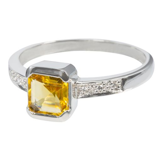 Sterling Silver Square Cut Citrine  CZ Ring $35 - purejewels.com.au