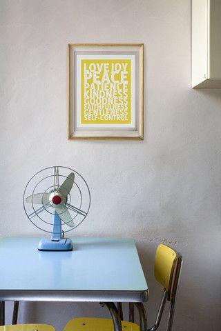 Words.: Kitchens Interiors, Vintage Fans, Spirit Prints, Wall Hanging, Blue Sky, Blue Color, Blue Yellow, Home Decor, Lemon Yellow