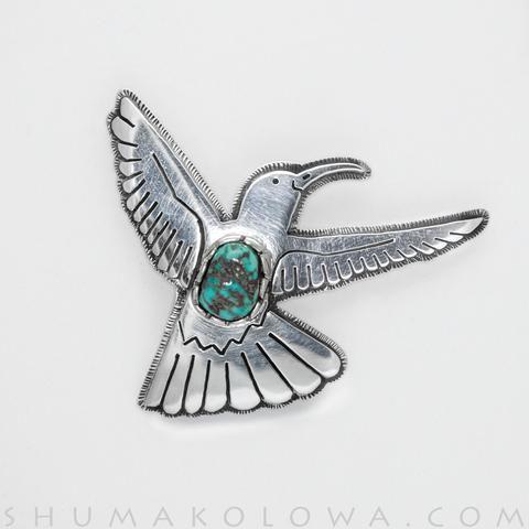 Gerald Lomaventema Silver & Turquoise Hummingbird Pin