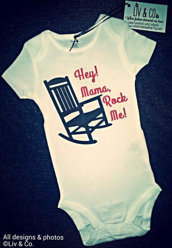 Funny Baby Onsies, One Piece, Bodysuit, Baby Romper, Mama Rock Me, Cutest Baby Onsies, Gender Neutral Baby, Boy, Girl, Wagon Wheel, Country