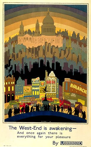 Electric theatre lights blaze, while the shape of the tube tunnel is reflected in the horizon in The West End is Awakening, by Ernest Michael Dinkel, 1931.