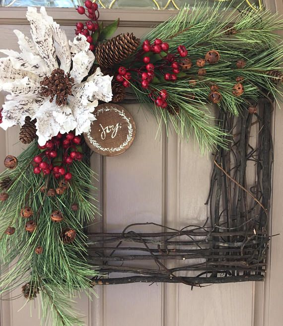 Christmas Wreath Holiday Wreath Square Wreath Grapevine