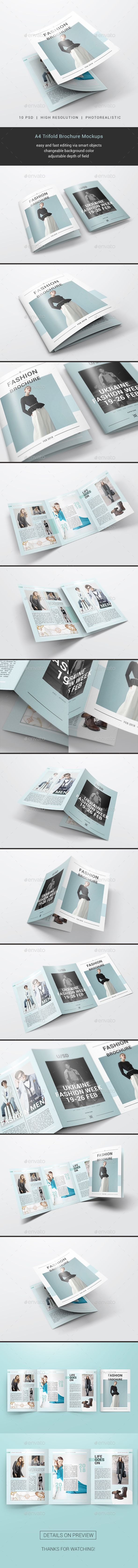 A4 Trifold Brochure Mockups #brochure #trifold Download : graphicriver.net/...