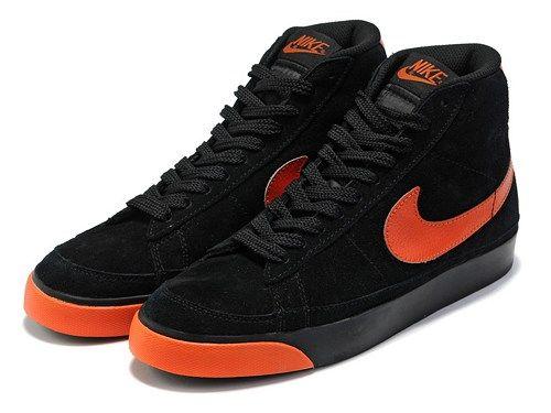 Cheap 371761-669 Nike Blazer MID suede black orange men shoes