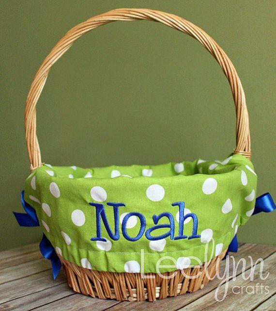 21 best diy home decor images on pinterest bushel baskets green polka dot personalized monogrammed easter basket liner girls or boys negle Gallery