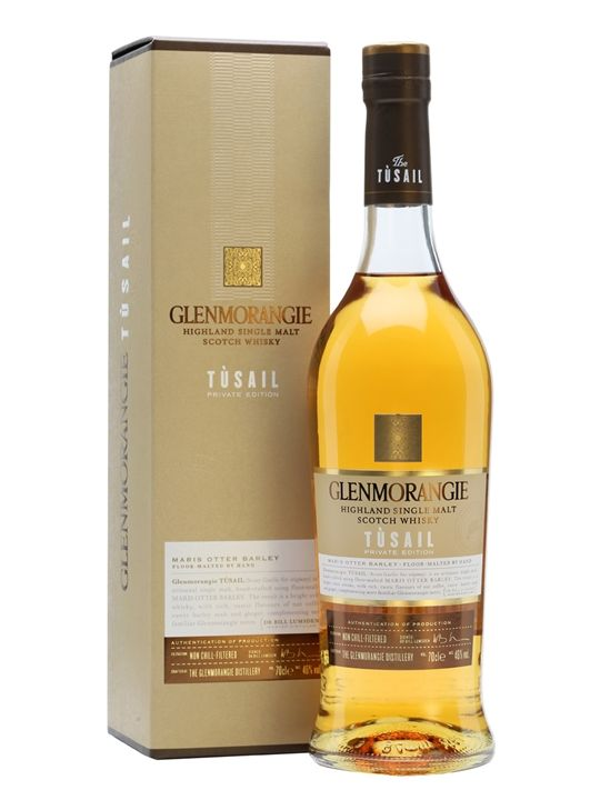 Glenmorangie Tusail / Private Edition Scotch Whisky : The sixth entry in Glenmorangie's Private Collection, showing off the distillery's experiments with different varieties of barley and named after the Gaelic word for 'originary' (an archaic form of 'originating'). Whisky Exchange.