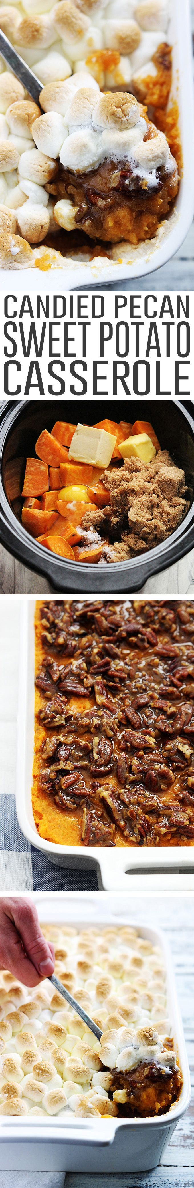 Creamy sweet potato casserole with a crunchy candied pecan topping and toasted marshmallows.