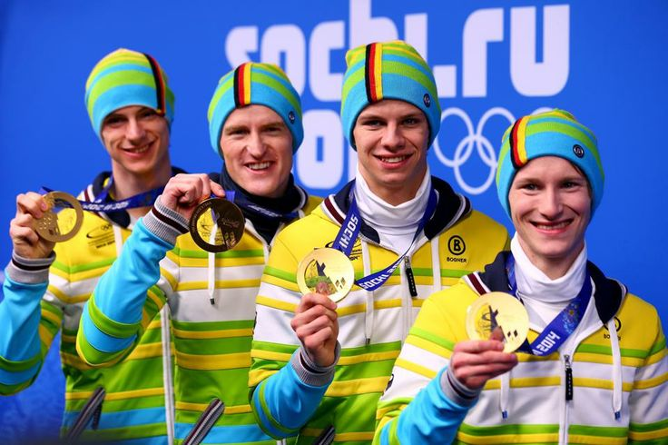 SKI JUMPING TEAM:  Gold medalists (L-R)  Severin Freund, Andreas Wellinger, Andreas Wank and Marinus Kraus of Germany