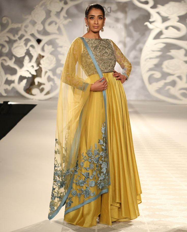 Poppy Yellow Anarkali Suit with Rose Embroidered Dupatta