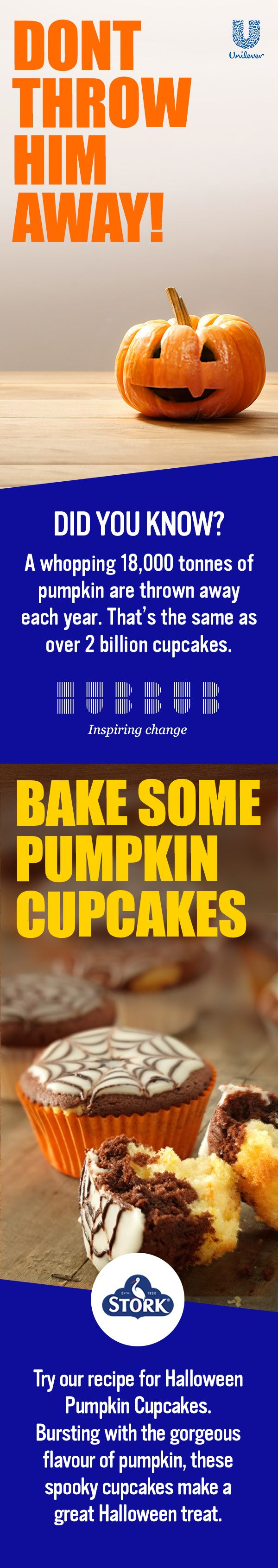 Did you know: A whopping 18,000 tonnes of Pumpkin are thrown away each year? That's the same as over 2 billion cupcakes. Join Hubbub and Unilever in inspiring change. Get involved here: https://brightfuture.unilever.co.uk/stories/494523/Turn-your-carvings