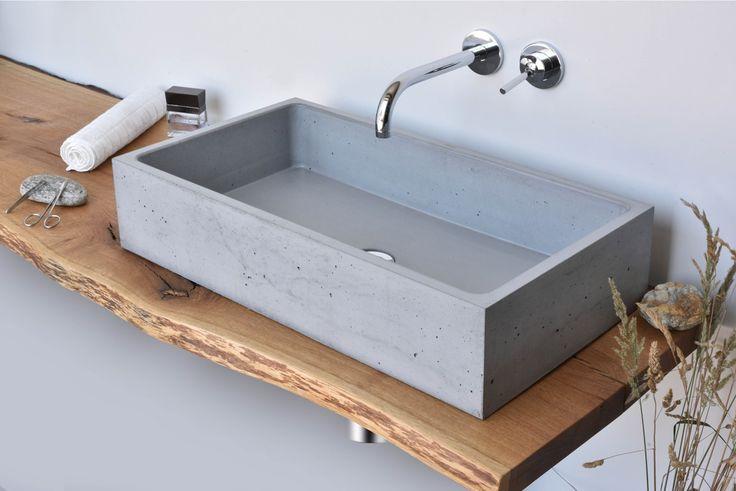 Concrete washbasin Gravelli Box Single in grey variant.