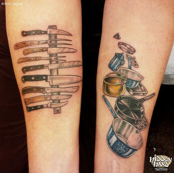 Colorful Tattoo Of Knives And Pots Pans