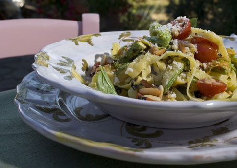 Homemade Tagliatelle with Zucchini Flowers and Cherry Tomatoes