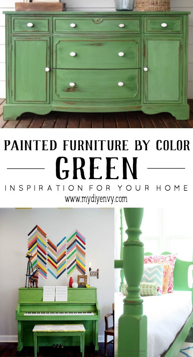Green painted furniture inspiration and ideas! I just love how these pieces pop. | www.mydiyenvy.com