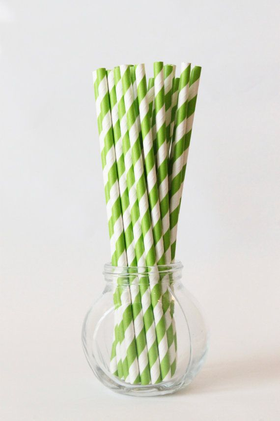 Lime Green Paper Straws Lime Green and White by WhenItRainsShop, $5.00
