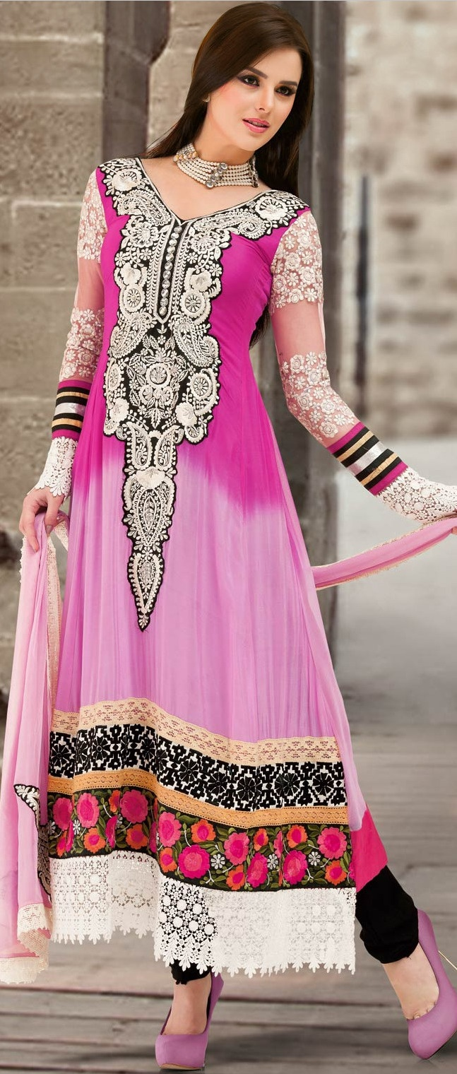 Shaded #Pink and Light Pink Faux #Georgette #Churidar #Kameez
