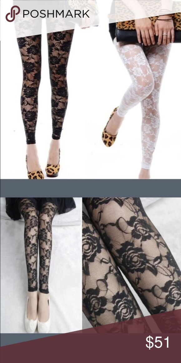 Lovely black lace leggings New black lace leggings one size fits all fit size small or medium. Exactly as pictured Pants Leggings