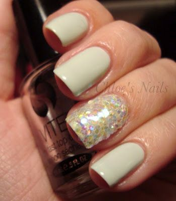 Essie Absolutely Shore and loose iridescent glitter. From Chloe's Nails.Absolute Shore, Chloe Nails, Accent Nails, Mermaid Hair, Loo Glitter Nails, Beautiful, Essie Absolute, Mermaid Nails, Mermaid Tail