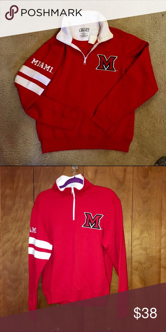 Miami University 1/4 Zip Up Sweatshirt Plush Miami University (OH) 1/4 zip up. SUPER soft and warm, perfect for Ohio winters!! Bought from the university bookstore, but never worn.Willing to negotiate. Sweaters Crew & Scoop Necks