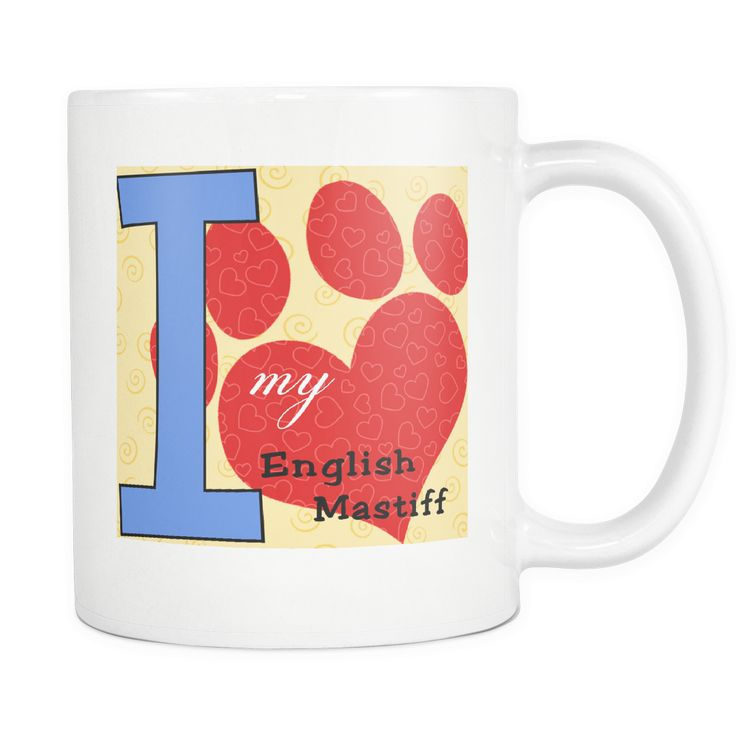 Dog Themed Mug - English Mastiff Dog Breed On White