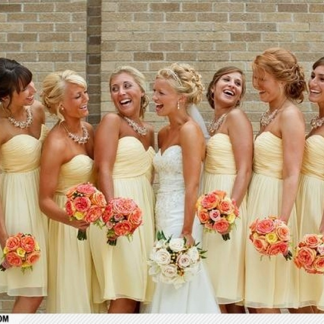 Anna wedding Pastel yellow and coral wedding party.  Very pretty.